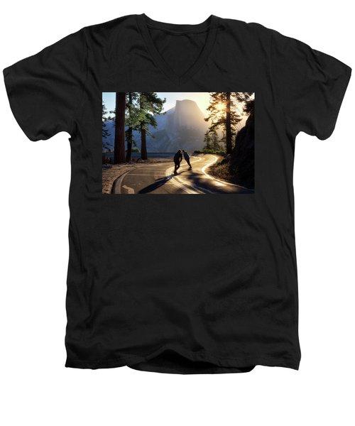 First Tracks Men's V-Neck T-Shirt by Nicki Frates