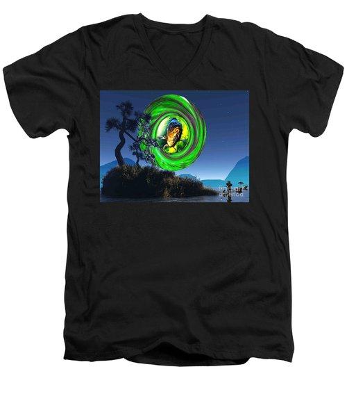 Fish Too Big For Cormorant Men's V-Neck T-Shirt by Mojo Mendiola
