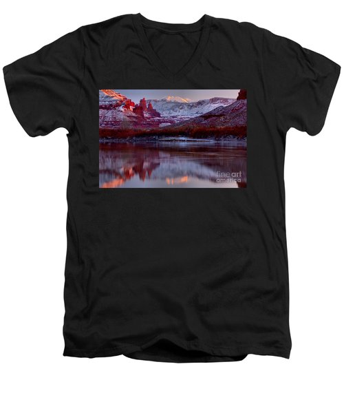 Men's V-Neck T-Shirt featuring the photograph Fisher Towers Landscape Glow by Adam Jewell