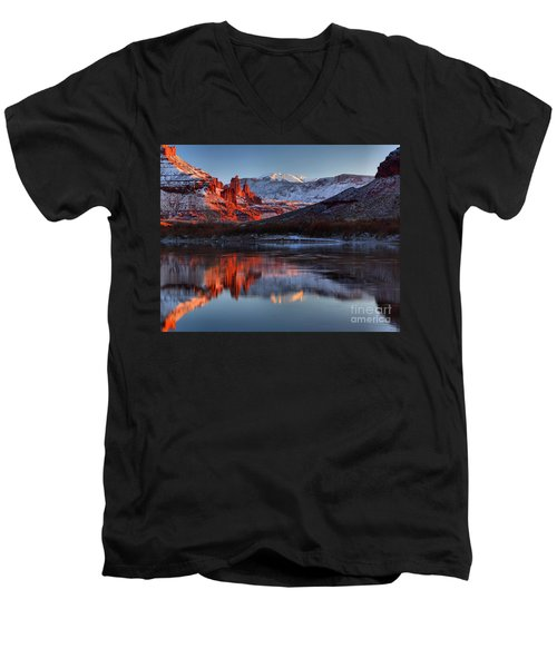 Men's V-Neck T-Shirt featuring the photograph Fisher Towers Sunset On The Colorado by Adam Jewell