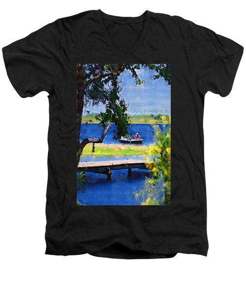 Men's V-Neck T-Shirt featuring the photograph Fishin by Donna Bentley