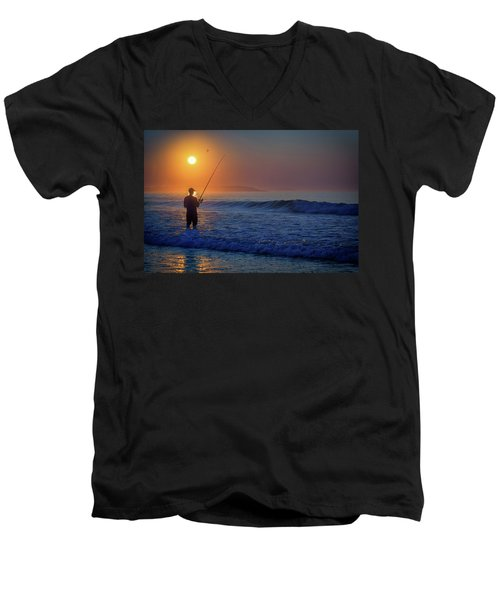 Men's V-Neck T-Shirt featuring the photograph Fishing At Sunrise by Rick Berk