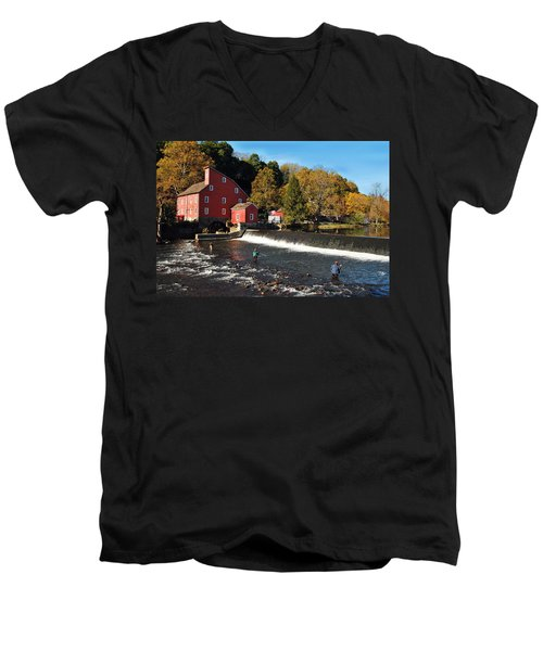 Fishing At The Old Mill Men's V-Neck T-Shirt