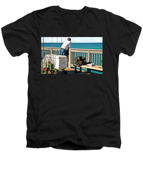 Fishing At The Pier Men's V-Neck T-Shirt