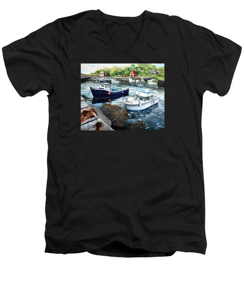 Fishing Boats In Lanes Cove Gloucester Ma Men's V-Neck T-Shirt by Eileen Patten Oliver