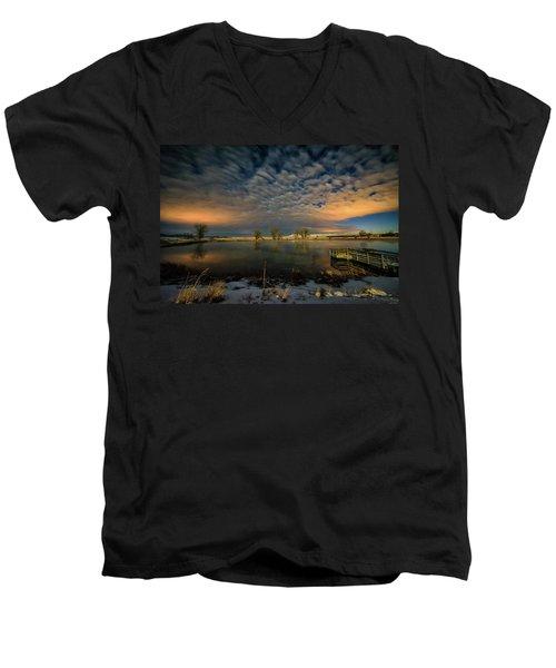 Fishing Hole At Night Men's V-Neck T-Shirt by Fiskr Larsen