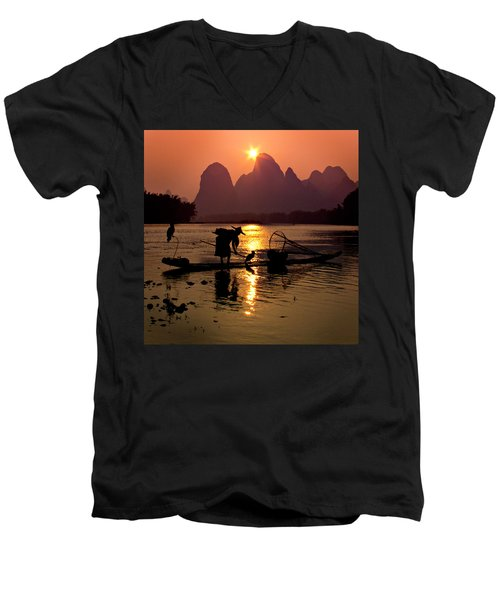 Fishing With Cormorants Men's V-Neck T-Shirt