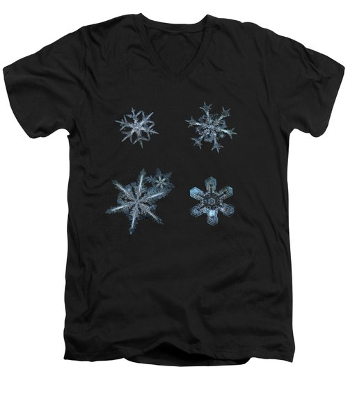 Five Snowflakes On Black 3 Men's V-Neck T-Shirt by Alexey Kljatov