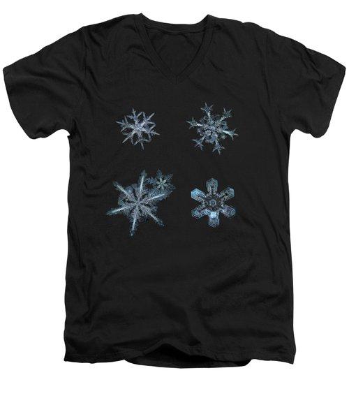 Five Snowflakes On Black 3 Men's V-Neck T-Shirt
