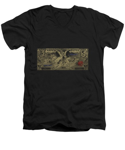 Men's V-Neck T-Shirt featuring the digital art Five U.s. Dollar Bill - 1896 Educational Series In Gold On Black  by Serge Averbukh