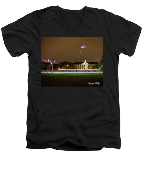 Men's V-Neck T-Shirt featuring the photograph Flag At Night In Wind by Gregory Daley  PPSA