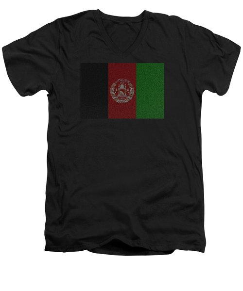 Flag Of Afghanistan Men's V-Neck T-Shirt by Jeff Iverson