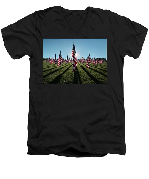 Flags Of Valor - 2016 Men's V-Neck T-Shirt by Rau Imaging