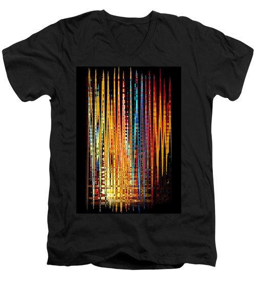Flame Lines Men's V-Neck T-Shirt by Francesa Miller