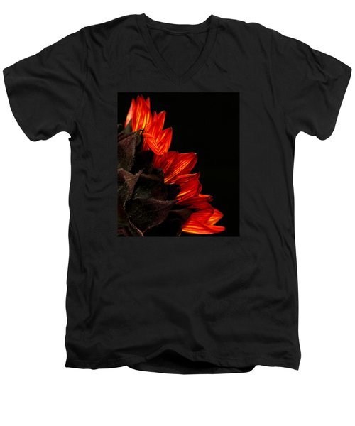 Men's V-Neck T-Shirt featuring the photograph Flames by Judy Vincent
