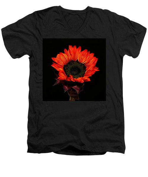Men's V-Neck T-Shirt featuring the photograph Flaming Flower by Judy Vincent