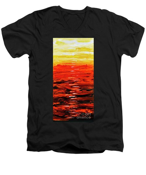 Flaming Sunset Abstract 205173 Men's V-Neck T-Shirt