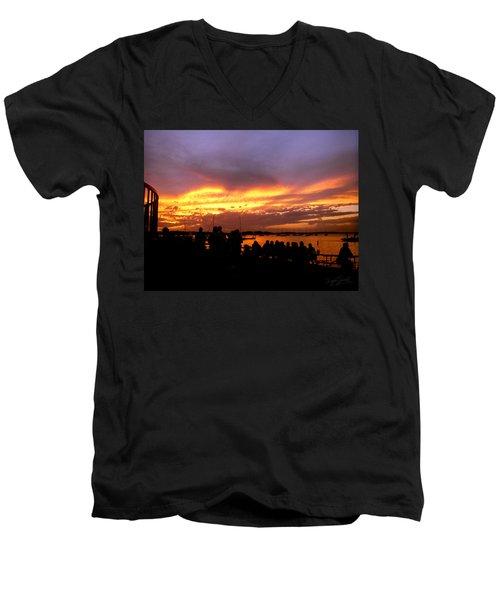 Flaming Sunset Men's V-Neck T-Shirt