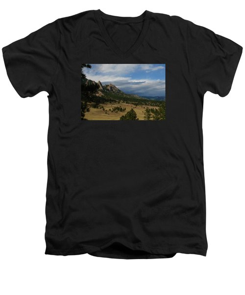Flatirons, Boulder, Colorado Men's V-Neck T-Shirt by Christopher Kirby