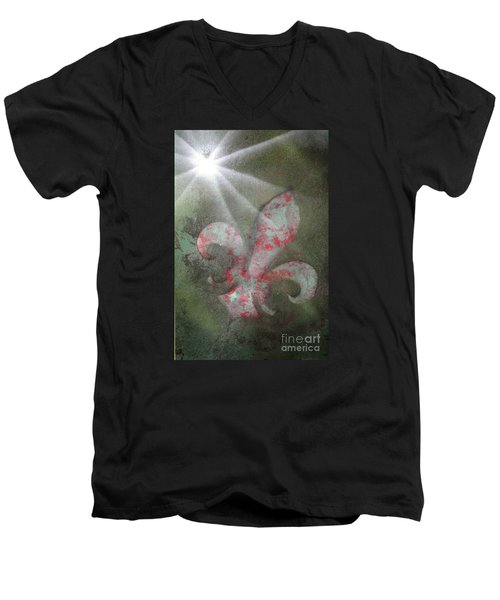 Men's V-Neck T-Shirt featuring the painting Fleur Di Lis by Tbone Oliver