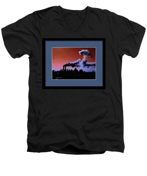 Men's V-Neck T-Shirt featuring the digital art Flight 175 Mushroom Cloud Framed Example by James Kosior