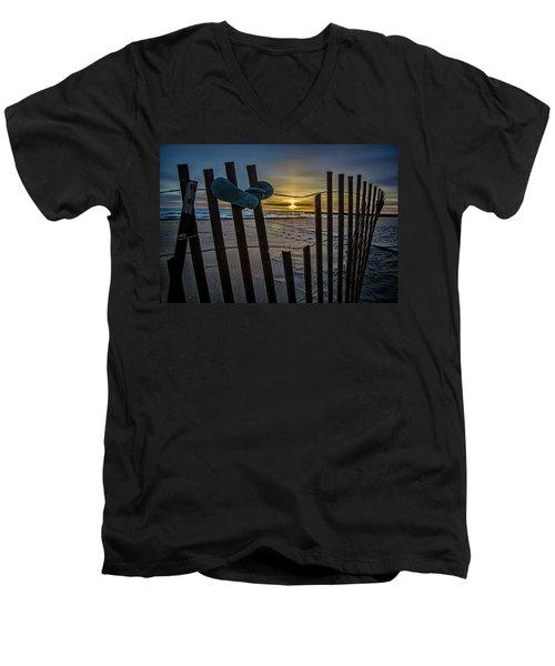 Flip Flops On A Beach At Sun Rise Men's V-Neck T-Shirt