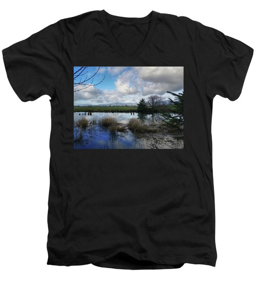 Flooding River, Field And Clouds Men's V-Neck T-Shirt by Chriss Pagani