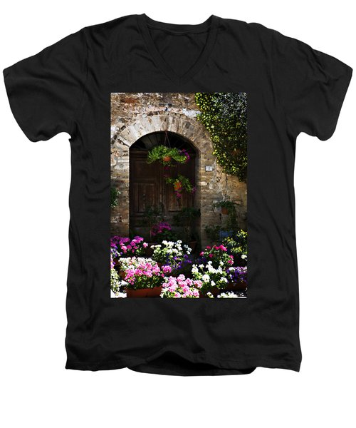Floral Adorned Doorway Men's V-Neck T-Shirt