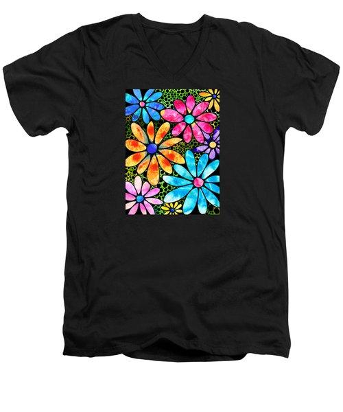 Floral Art - Big Flower Love - Sharon Cummings Men's V-Neck T-Shirt by Sharon Cummings
