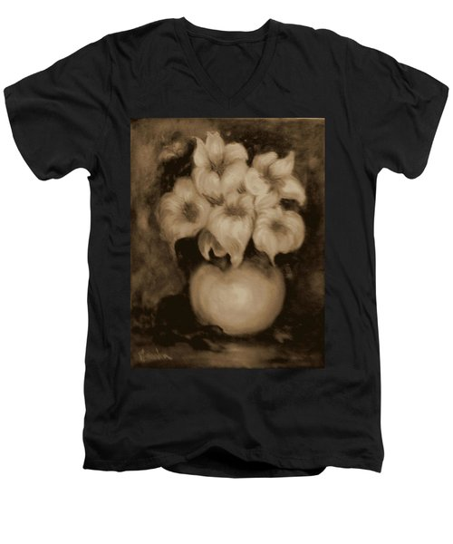 Floral Puffs In Brown Men's V-Neck T-Shirt