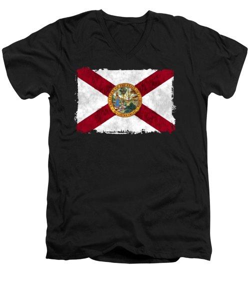 Florida Flag Men's V-Neck T-Shirt by World Art Prints And Designs