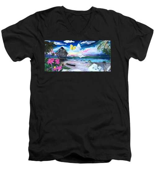 Men's V-Neck T-Shirt featuring the painting Florida Room by Dawn Harrell