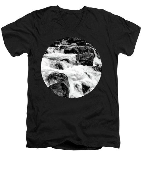 Flow, Black And White Men's V-Neck T-Shirt