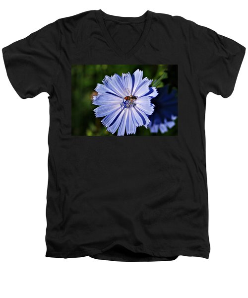 Flower And Bee 2 Men's V-Neck T-Shirt by Joe Faherty