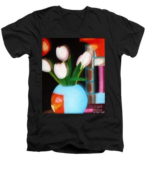 Flower Decor Men's V-Neck T-Shirt
