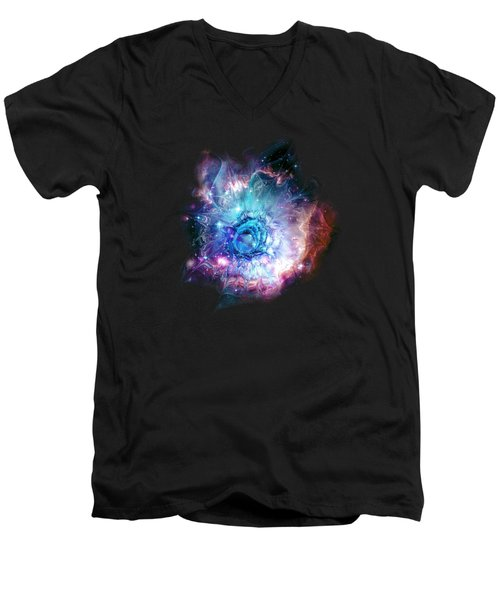 Flower Nebula Men's V-Neck T-Shirt by Anastasiya Malakhova