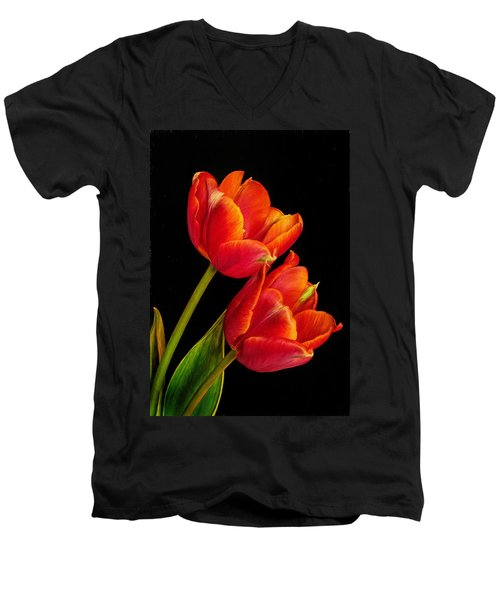 Flower Of Love Men's V-Neck T-Shirt by David and Carol Kelly