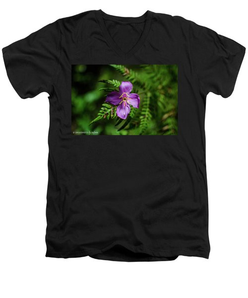 Flower On The Fern Men's V-Neck T-Shirt by Stefanie Silva