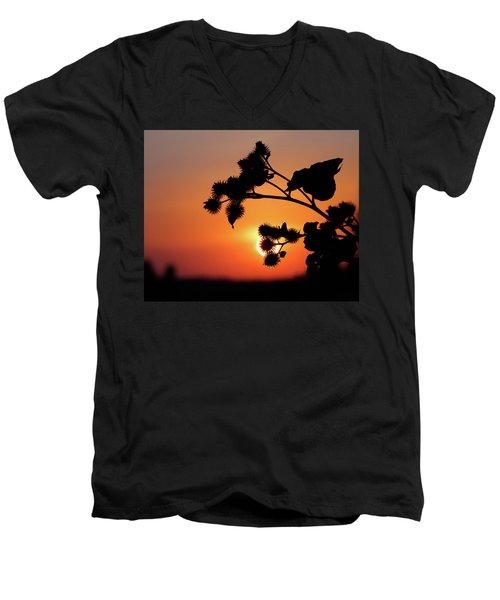 Flower Silhouette Men's V-Neck T-Shirt