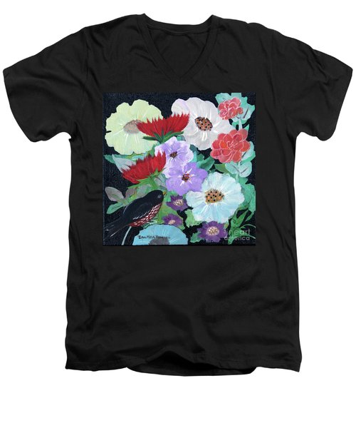 Men's V-Neck T-Shirt featuring the painting Floweret by Robin Maria Pedrero