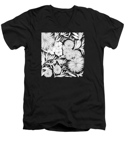 Men's V-Neck T-Shirt featuring the painting Flowers 3 by Lou Belcher