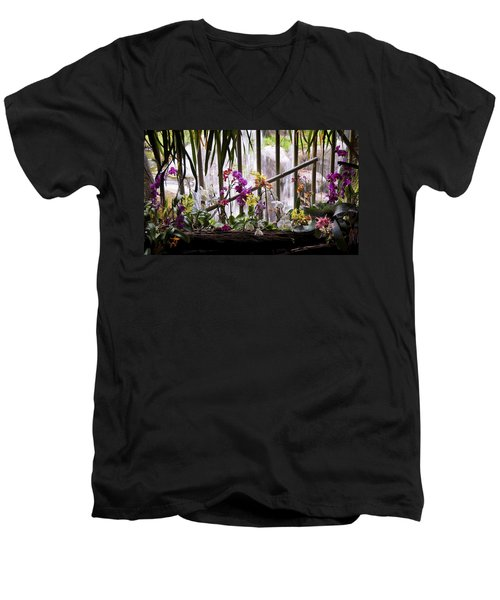 Flowers And Waterfall Men's V-Neck T-Shirt