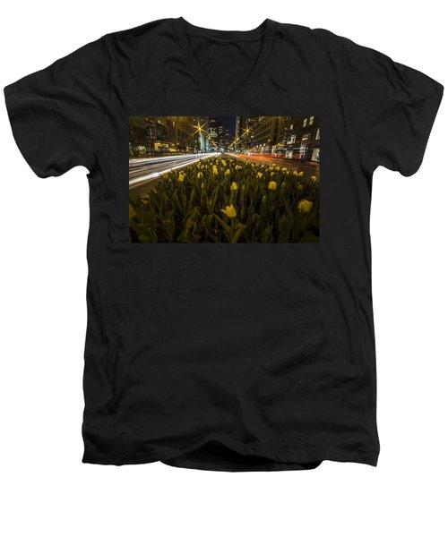 Flowers At Night On Chicago's Mag Mile Men's V-Neck T-Shirt