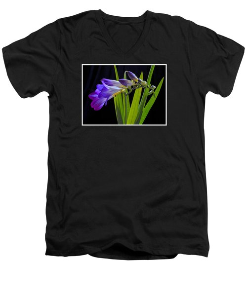 Flowers Backlite. Men's V-Neck T-Shirt by Josephine Buschman