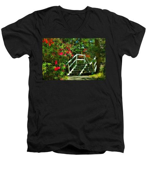 Flowers Bloom Alongside Magnolia Plantation Bridge - Charleston Sc Men's V-Neck T-Shirt