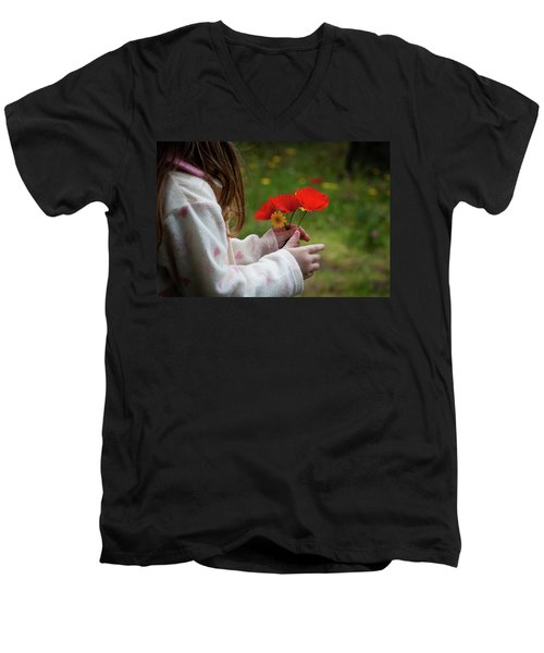Men's V-Neck T-Shirt featuring the photograph Flowers by Bruno Spagnolo