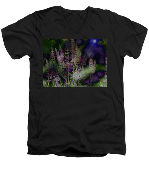 Flowers By Moonlight Men's V-Neck T-Shirt by Barbara S Nickerson
