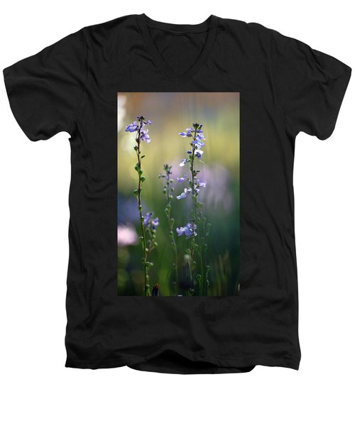 Flowers By The Pond Men's V-Neck T-Shirt by Robert Meanor