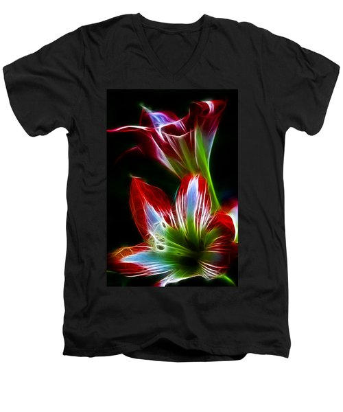 Flowers In Green And Red Men's V-Neck T-Shirt