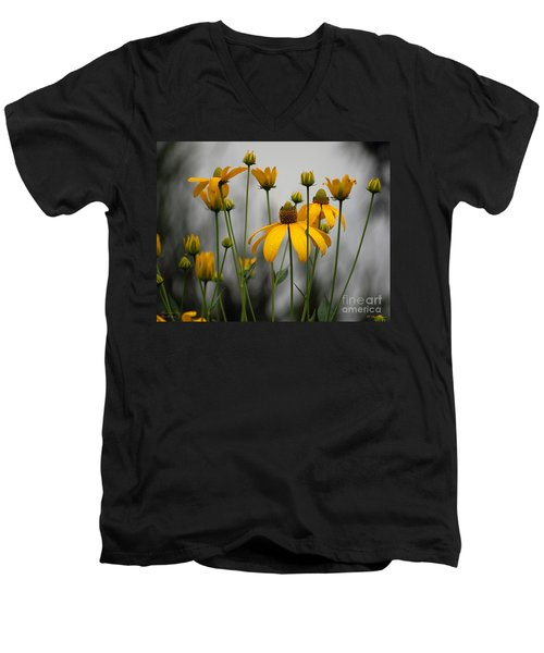 Men's V-Neck T-Shirt featuring the photograph Flowers In The Rain by Robert Meanor